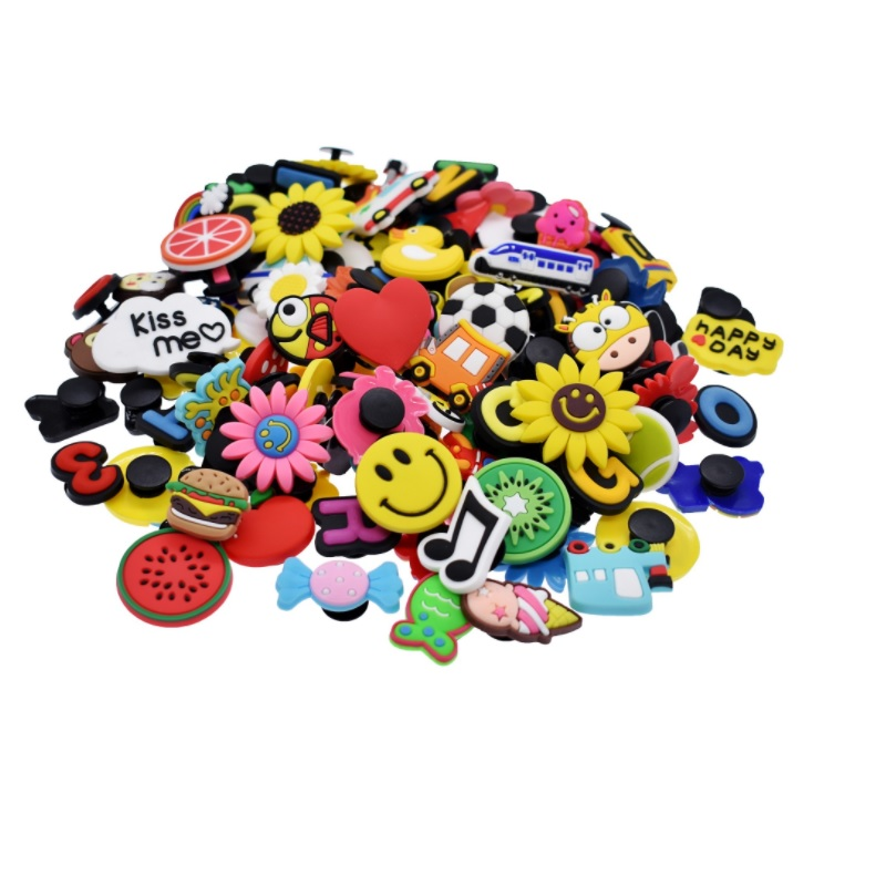 Random 100pcs PVC Shoe Charms Cartoon Letters Kids Hole Shoes Buckle Wristband Decoration For Croc Jibz Kids Party X-mas Gift