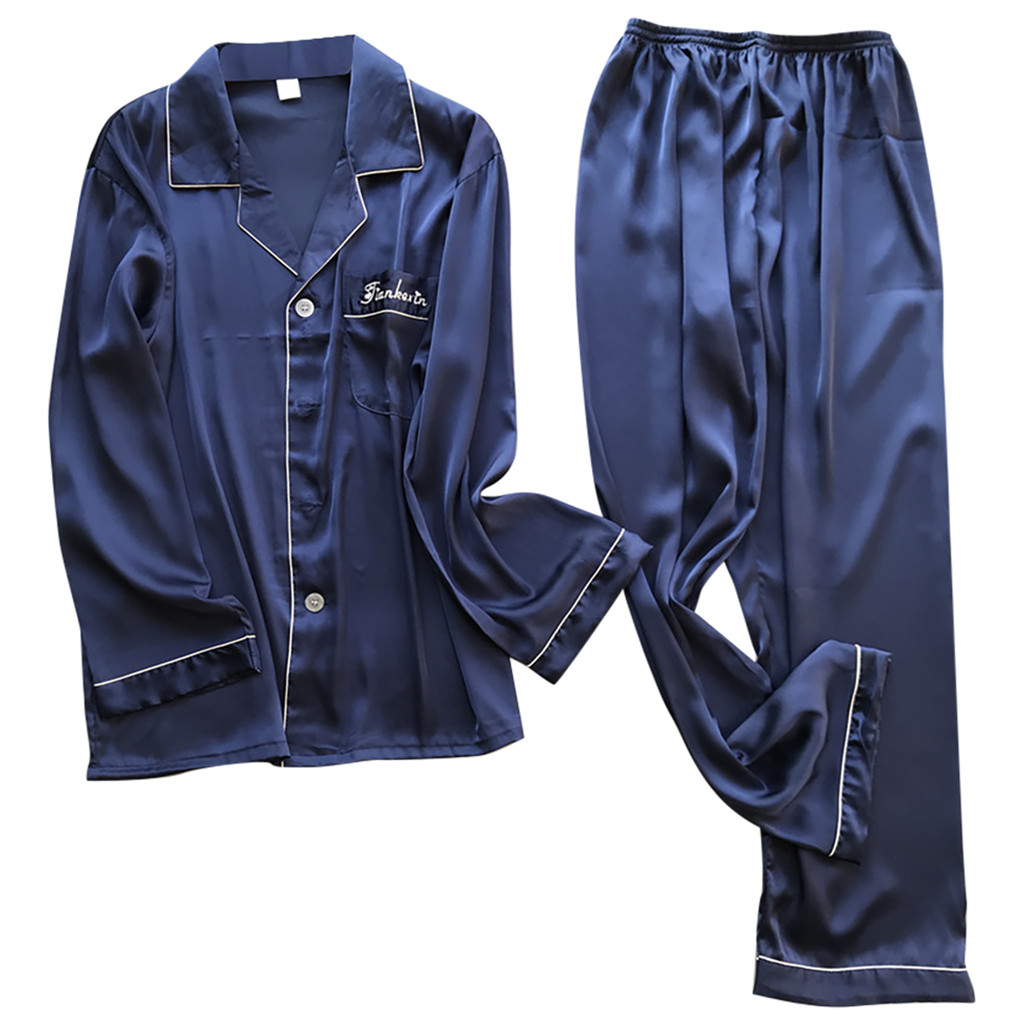 Men Sleepwear Autumn Winter Satin Pajamas Set Long Sleeve Top And Pant U.S. Stock