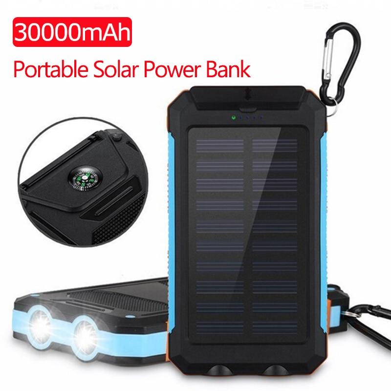 30000mAh Solar Power Bank USB Powerbank Waterproof Battery External Portable Charging LED Light 2USB Outdoor Light Powerbank
