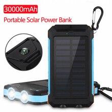 30000mAh Solar Power Bank USB Powerbank Waterproof Battery E