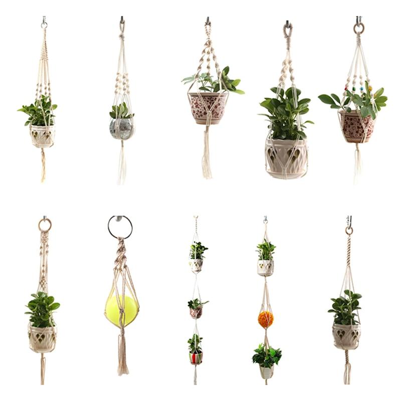 Hot Sales 100% Handmade Macrame Plant Hanger Plant Holder Flower /pot Hanger For Wall Decoration Countyard Garden