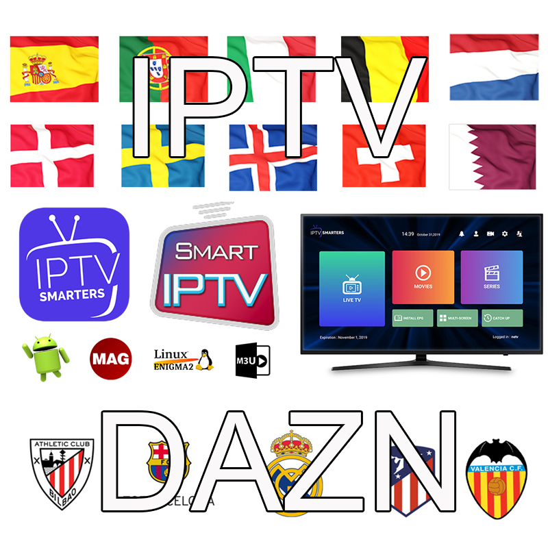 IPTV Dazn Spain Portugal Turkish UK Poland Romania Hungary Czech Spain Nordic HD IPTV Support Android M3U Sport Smart TV Server