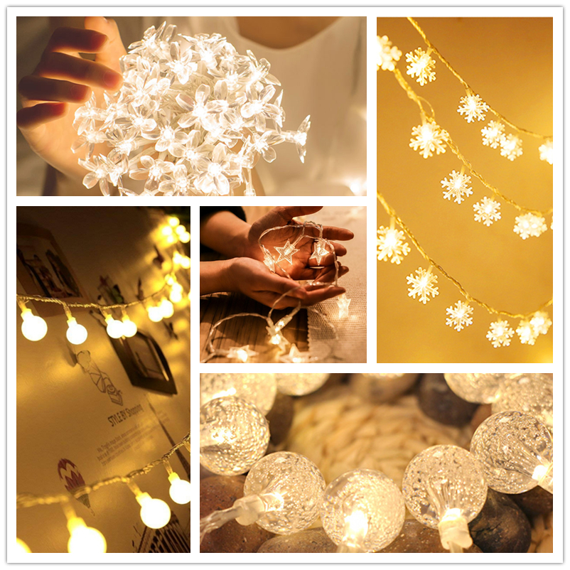 3M/6M/10M LED Garland Fairy String Lights Battery Powered Christmas Bulb Twinkle Decorative Lights Home Wedding Party Decoration