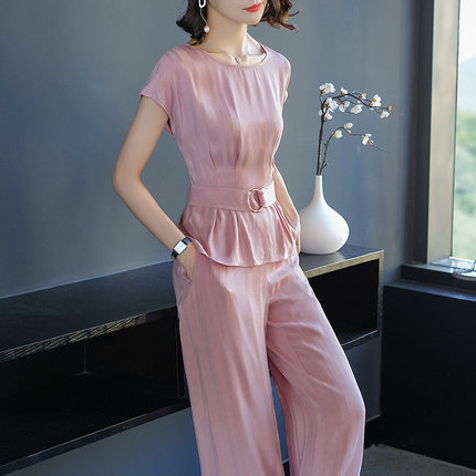 Goddess Luxury 2 Piece Set Women Pink Sleeveless Two Piece Outfits Leisure Wide Leg Pants Ensemble Femme Deux Pieces Woman Suit