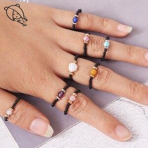 Momiji Handmade Natural Stone Beaded Rings Wedding Boho Multi Color Elastic Adjustable Crystal Pearls Statement Ring Women Gift