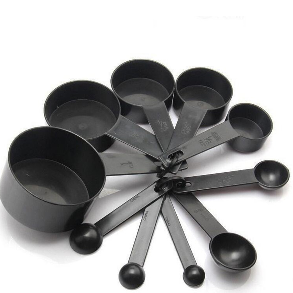 10Pcs/Set Black Color Measuring Cups And Measuring Spoon Scoop Silicone Handle Kitchen Measuring Tool