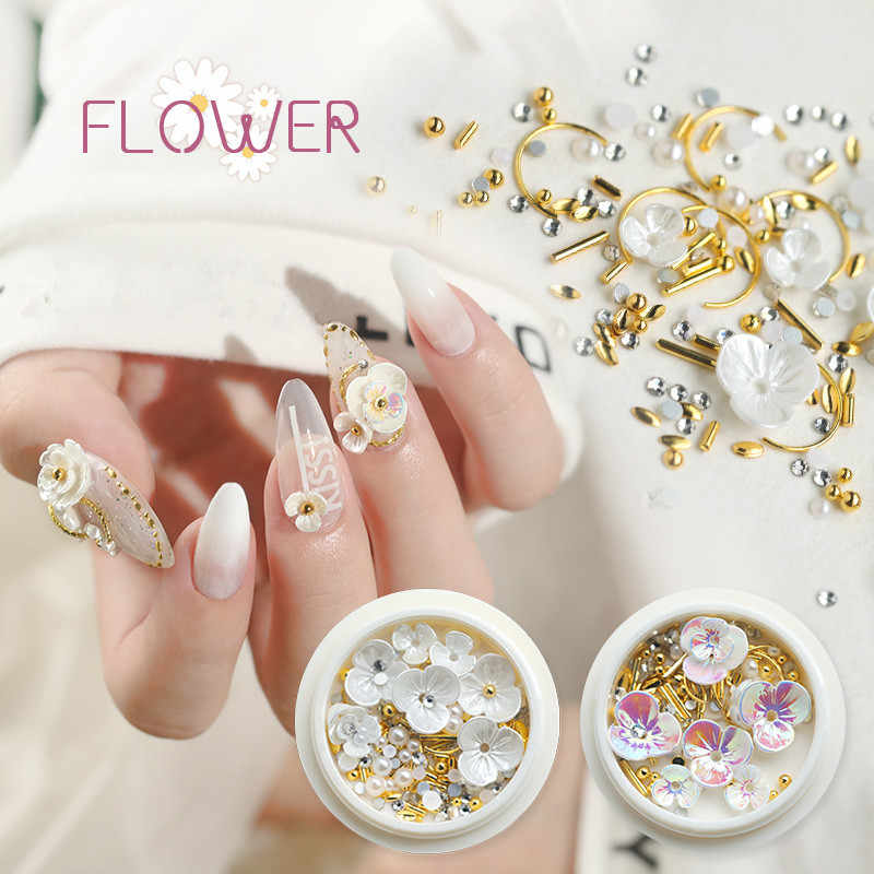 1 box Gold Weiße Blume Nagel Bolzen Nagel Teile Dekoration Nail art Nagel Salon