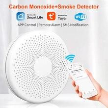 Tuya WIFI 2 in 1 Smoke Carbon Monoxide Detector CO Gas Smoke Alarm Sensor 85db 100db