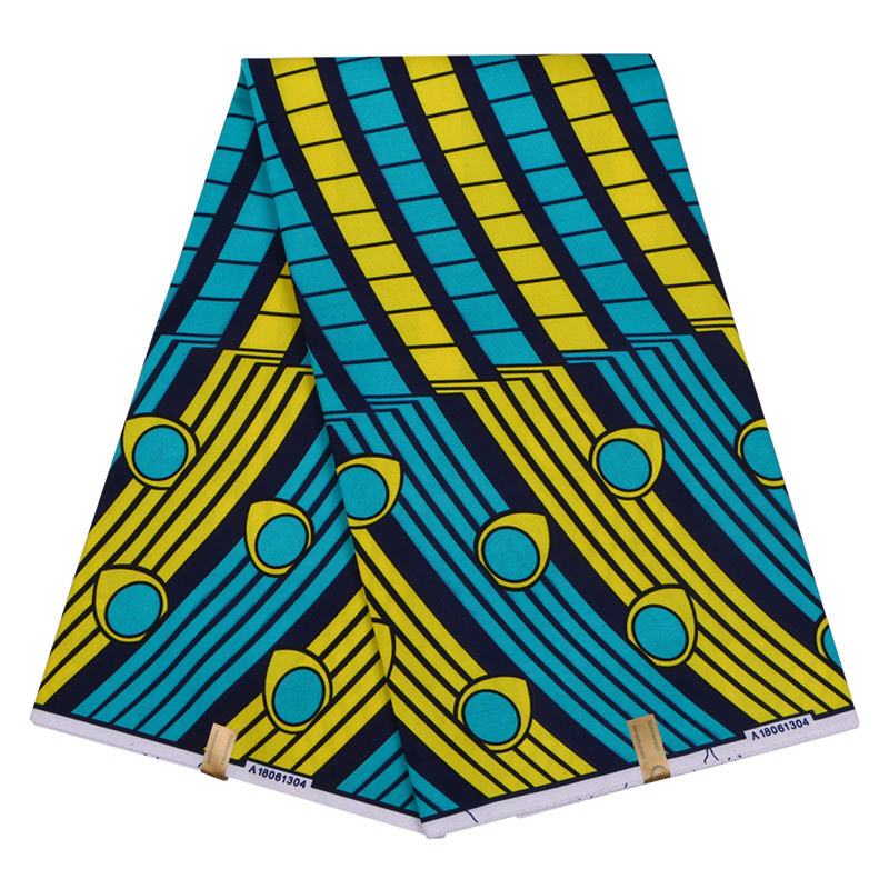 2019 New African Dutch Wax Fabric Blue And Yellow Print African Ankara Pagnes Wax Printed Fabric 6Yards