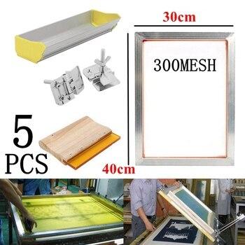 5Pcs/Set 40x30CM Screen Printing Kit 300M Silkscreen Aluminum Frame + Hinge Clamp + Emulsion Scoop Coater + Squeegee Tool Parts