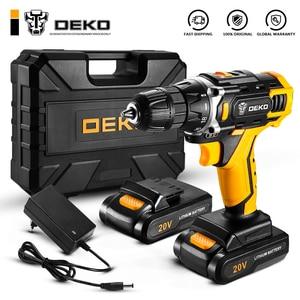 DEKO New Sharker 20V Cordless Drill Driver Screwdriver Mini Wireless Power Driver DC Lithium-Ion Battery 18+1 Settings
