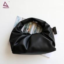 Hiboom shoulder pouch in calf soft voluminous bag genuine leather women handbag