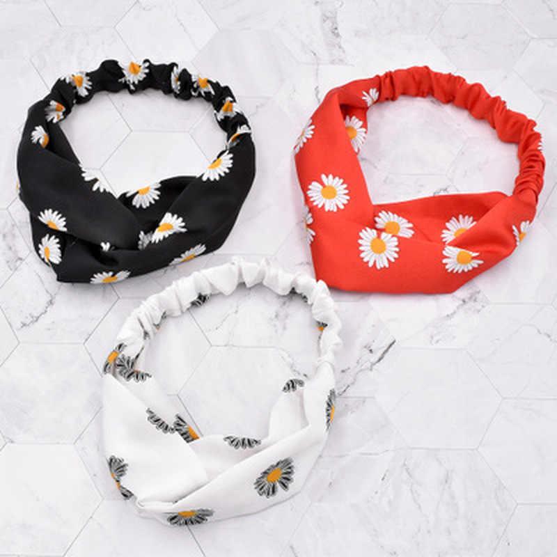 2020 ผู้หญิงถัก Daisy ดอกไม้แถบคาดศีรษะผมวงยืดหยุ่นยืด HEAD Wrap Hairband อุปกรณ์เสริมผม
