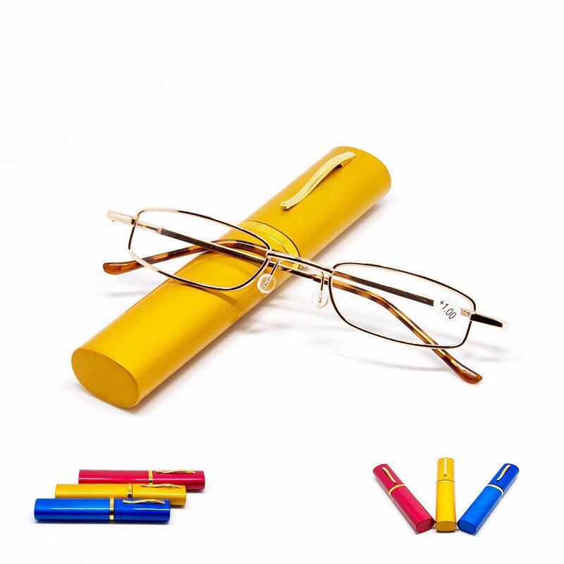 Unisex Reading Glasses with Pen Tube Case Portable Presbyopic Glasses Metal Case Spring Hinge Eyeglasses Vision Care +1.00~+4.00