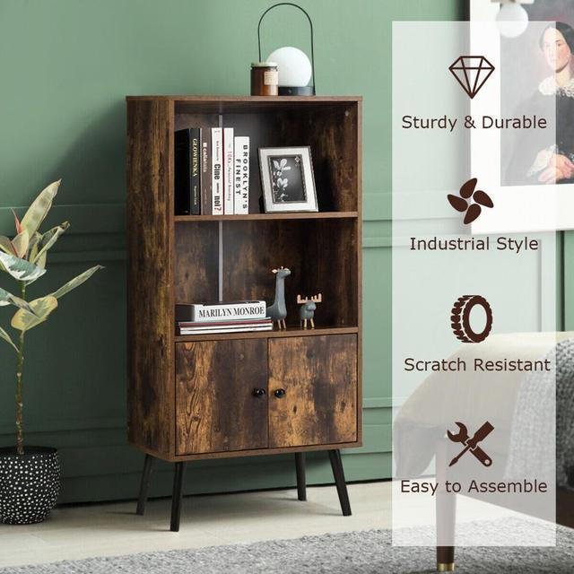 2-Tier Retro Bookcase Bookshelf w/3 Compartment 5