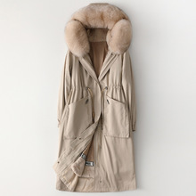 High Quality Winter Fox Fur Collar Hooded Parka Female Rabbi