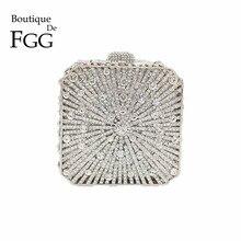 Boutique De FGG Bolso De mano con cristales deslumbrantes para mujer, Cartera De noche con cristales deslumbrantes, para boda, nupcial, para fiesta
