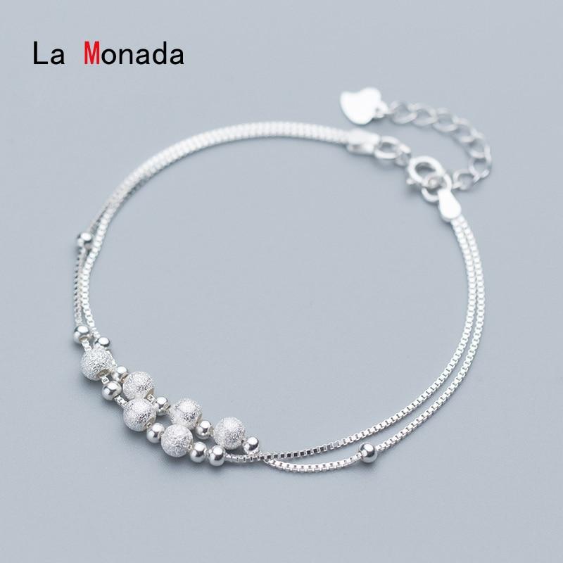 La Monada Bracelets For Women Silver 925 Sterling On Hand Luxury Designer Beads Fine Box Chain Silver 925 Jewelry Bracelet Woman
