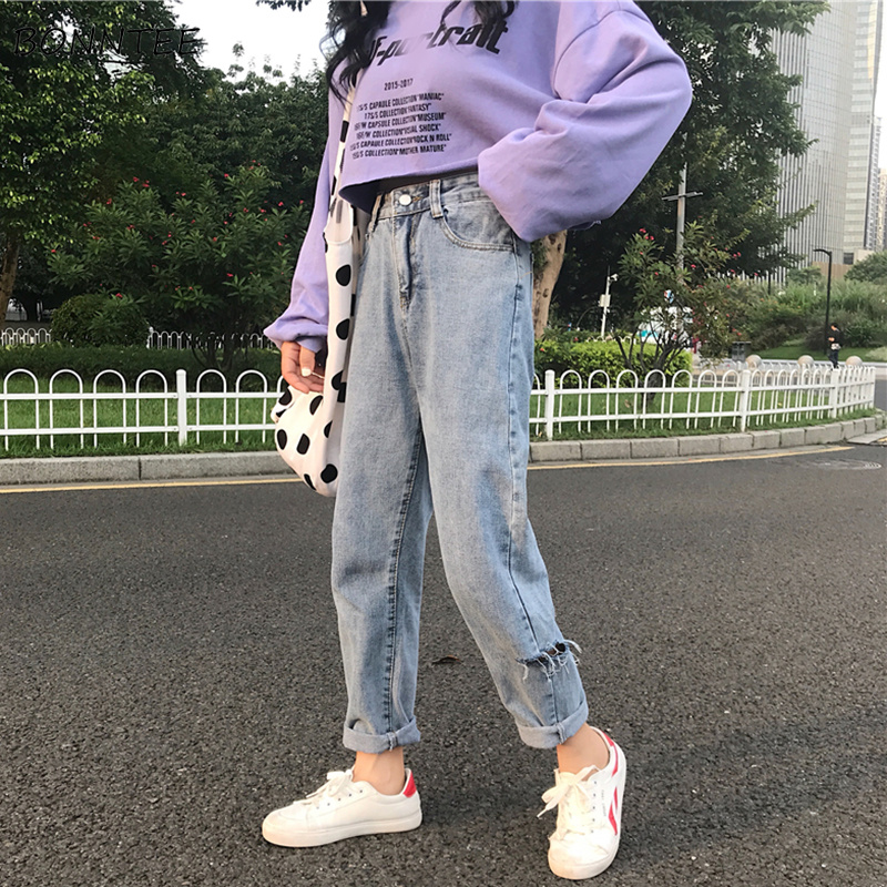 Jeans Woman High Waist Hole Loose Wide Leg Womens Jean Retro All-match Korean Style Full-length Students Trendy Leisure Daily
