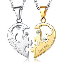 цена на Couple A New Hundred Sets of Men's Korean Titanium Steel Necklace Heart-Shaped Combination for Men and Women