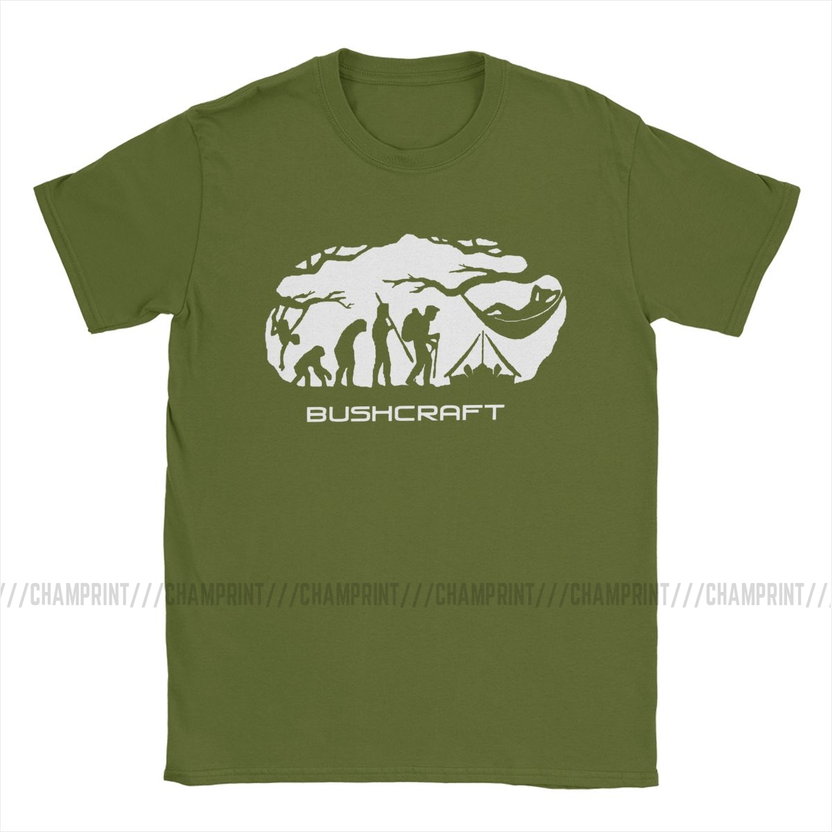 Bushcraft Survival Hammocking Evolution Print T Shirt Men T-Shirt Crewneck Camping Mountain Travel Wild Tees Short Sleeve Tops