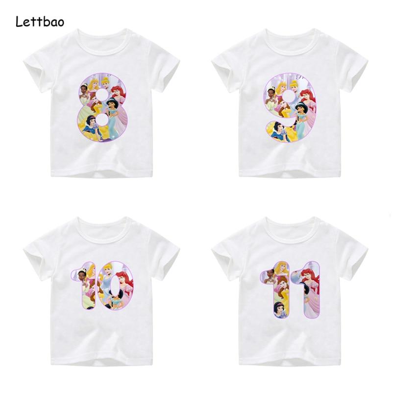 Girls Princess Birthday Number T Shirt Kids Birthday Cotton Tops Childrens Masks Birthday Gift,Dropshipping 2-12T