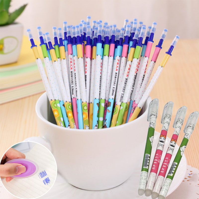 20pcs/lot Erasable Refills Kids Rabbit Bear Magic Erasable Gel Pens For Students Stationery Gift School Office Writing Supplies