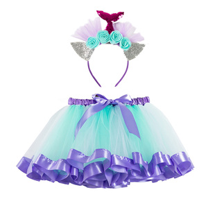 Image 2 - フリーヘッドバンド女の子スカートミニマーメイドチュチュパーティープリンセスチュチュドレスふわふわ誕生日子供服 2 7 年の女の子服