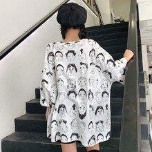 Hot Elegant Korean Style T-Shirts For Women Loose Short Sleeve Round Neck Graphic Printed Ladies