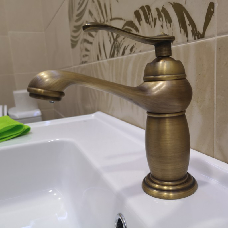 Bathroom Basin Faucet Antique Brass Mixer Solid Copper Luxury Europe Style Tap Taps