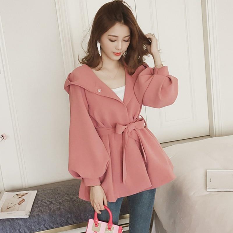 Women Hooded Windcoat Sweet Solid Color O-neck Jacket Autumn Warm Outwear  Fashion Bow Tie Loose Coat