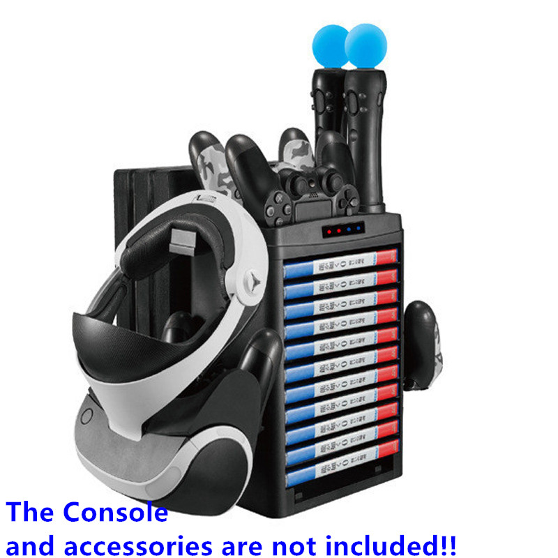 PSVR PS4 Pro Slim PS Move Charging Dock Vertical Stand and PS4 Game Storage Tower,Fan, Cooler, Controller Charger,Bracket,Holder image
