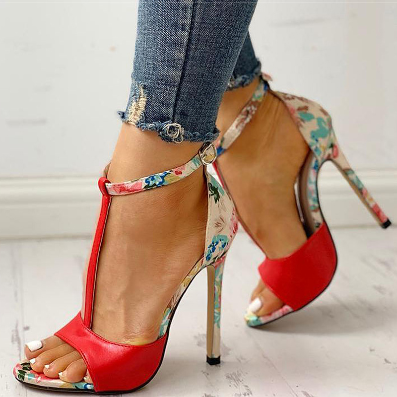 Women Sandals T-Strap High Heels Sandals Chaussures Femme Sexy Stripper Shoes Women Heels 2020 New Peep Toe Summer Shoes Female