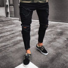 Mens Cool Designer Brand Black Jeans Skinny Ripped Destroyed Stretch Slim Fit Hop Hop Pants With Holes For Men(China)