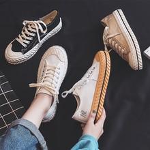 Baskets rétro à lacets tendance, chaussures en toile pour femmes, baskets plates et respirantes à la mode automne 2019