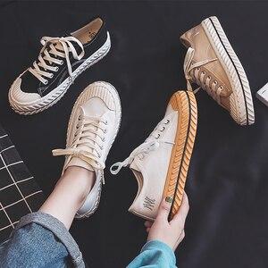 Image 1 - Vrouwen Canvas Schoenen 2019 Herfst Nieuwe Mode Sneakers Retro Schoenveter Trend Mode Ademend Platte Sneakers Casual Schoenen Vrouwen