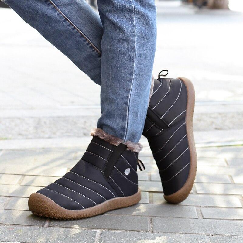 Купить с кэшбэком Winter Men's Big Size Hiking Shoes Water Resistant Outdoor Sports Sneakers Plus Fur Comfortable Warm Non-Slip Snow Walking Boots
