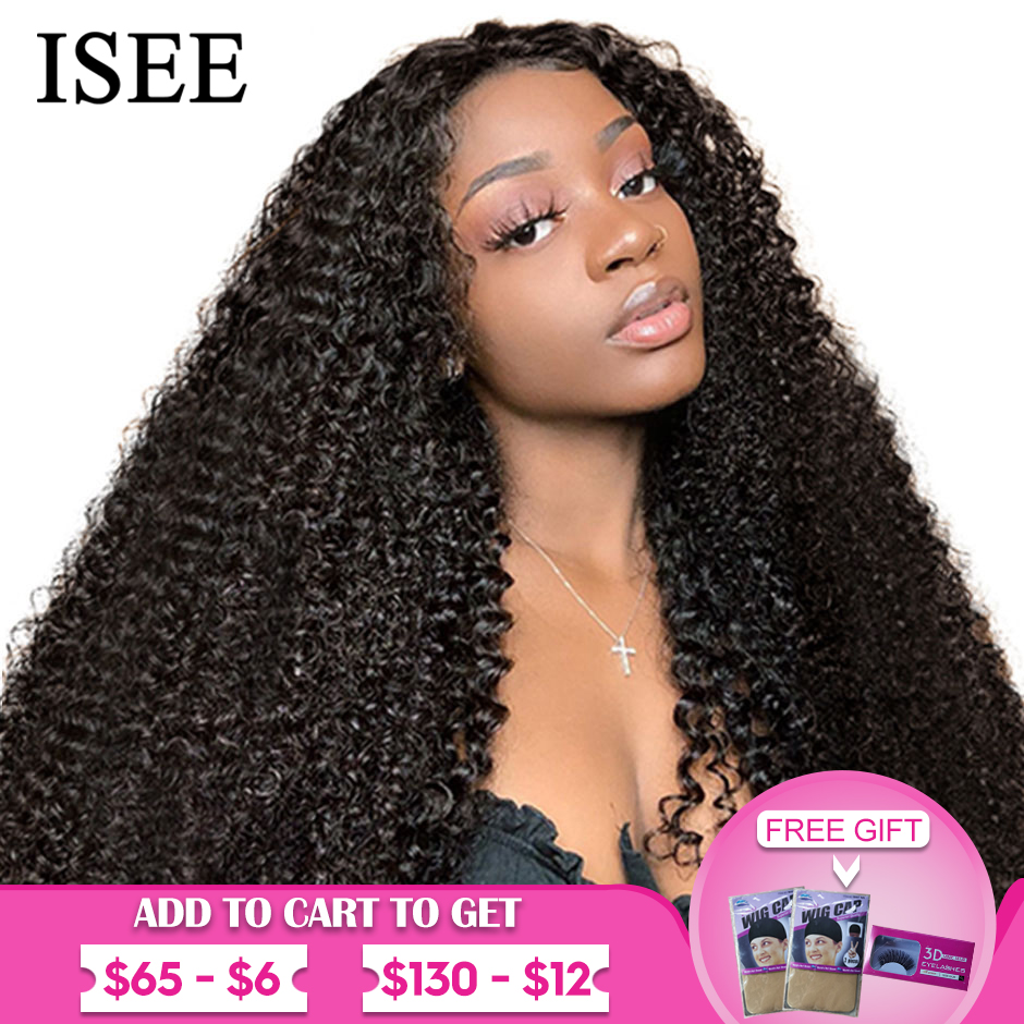 Mongolian Kinky Curly Wigs For Women 150% Density Curly 360 Lace Frontal Wig ISEE HAIR Curly Wig Full Lace Front Human Hair Wigs
