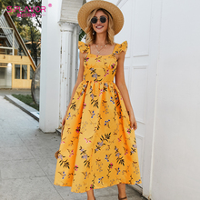 Midi Dress Floral-Printed S.FLAVOR Summer Sleeveless Vestidos Elegant Women A-Line Square Collar