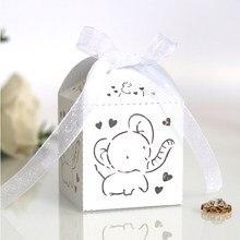 10/50/100 pces elefante corte a laser carruagem favores caixa presentes caixas de doces com fita chá de bebê festa de aniversário casamento suprimentos