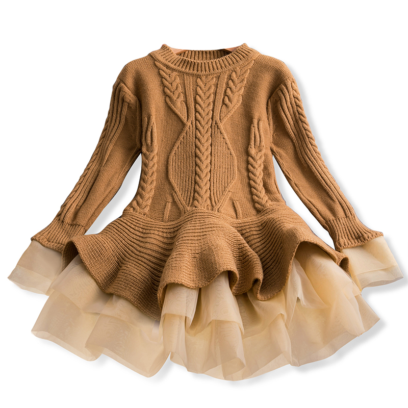 Girl Dress Knitted Baby Kids Dress Tutu Birthday Party Dresses Long Sleeve Children Girl Dress Thick Winter Kids Dress For Girls 2