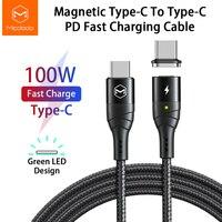 Cavo di ricarica magnetico MCDODO 100W cavo di ricarica rapida da USB tipo C a tipo C PD 5A per Huawei Xiaomi cavo magnetico a ricarica rapida