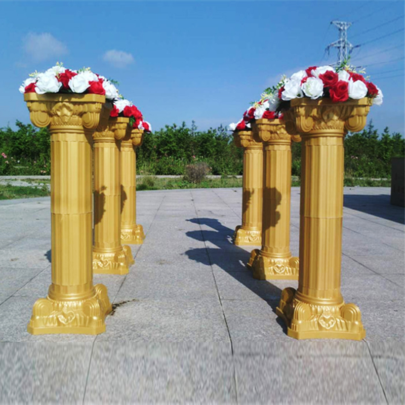 Wedding Roman Column Gold Plastic Flower Pot Road Lead Wedding Scene Layout Silk Flower T Stage Roman Column Decoration Props - 4
