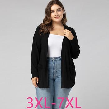 Suéter cárdigan de talla grande para mujer, primavera Otoño, informal, holgado, manga larga, abrigo fino de punto negro 3XL 4XL 5XL 6XL 7XL