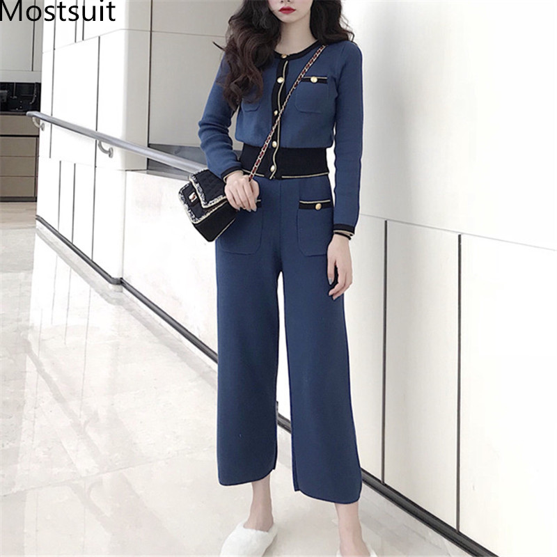 2019 Autumn Winter Knitted Vintage 2 Piece Sets Women Single Breasted Cardigan Tops + Wide Leg Pants Suits Elegant Fashion Sets