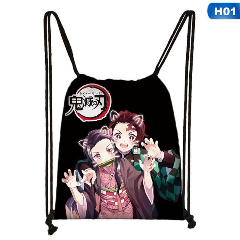 1 PC Devil's Blade Polyester Drawstring Pocket Women Girls Anime Drawstring Backpack Travel Backpack Bag Dropship New Arrival