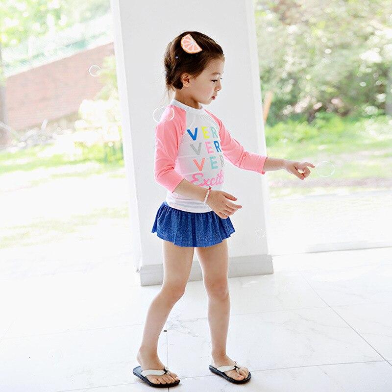 KID'S Swimwear Medium-small Girls GIRL'S Item Export Korean-style Long Sleeve Sun-resistant Warm Split Skirt Tour Bathing Suit