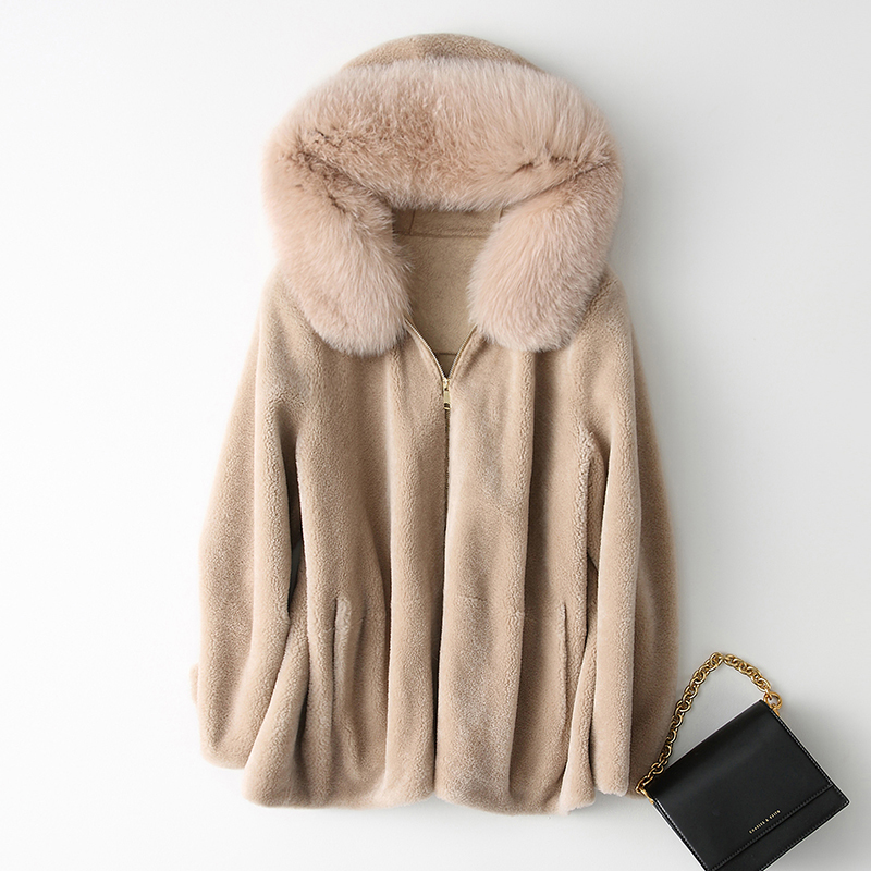 Fur Real Coat Female Winter Womens Clothing 2020 Korean Thick Short Wool Jacket With Fox Fur Hood Fashion Warm Coats 168 S