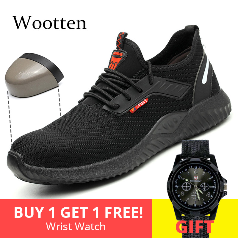 Plus Size Men Work Shoes Indestructible Outdoor Construction Stab-resistant Breathable Cap Toe Steel Safety Shoes #LD912