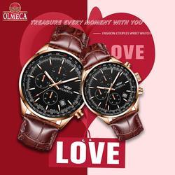 OLMECA хит продаж Модные мужские и женские часы Роскошный парный комплект наручных часов водонепроницаемые часы кожаный ремешок Часы Relogio ...
